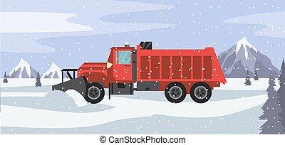 nevada, ilustração, neve, caminhão vermelho, vetorial, limpa, estrada, nevado, arado