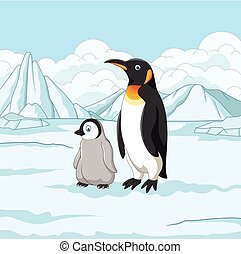 nevado, campo, mãe, bebê, caricatura, pingüim