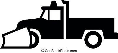 neve branco, pretas, sinal caminhão, arado, pick-up, ícone