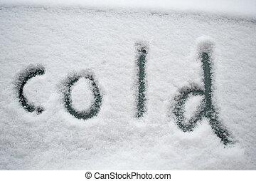 """neve, """"cold"""", escrito"""