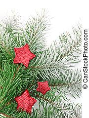 neve, estrelas, branca, firtree, natal, vermelho