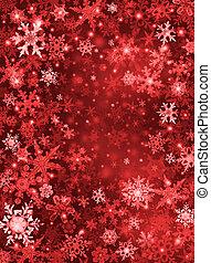 neve, fundo, vermelho