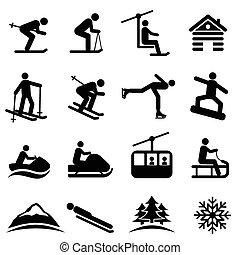 neve, inverno, esqui, ícones
