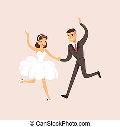 newlyweds, dança, modernos, cena, partido casamento, primeiro