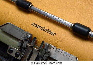 newsletter, máquina escrever
