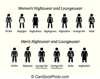 nightwear, moda, designs., homens, loungewear, mulheres