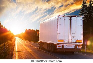 noite, caminhão, estrada, asfalto