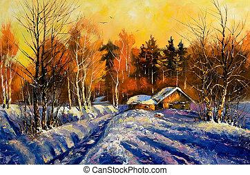 noite, inverno, vila