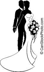 noiva, casório, conceito, silueta, noivo