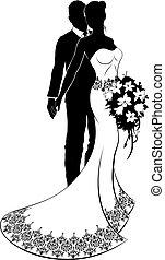 noiva, casório, silueta, noivo