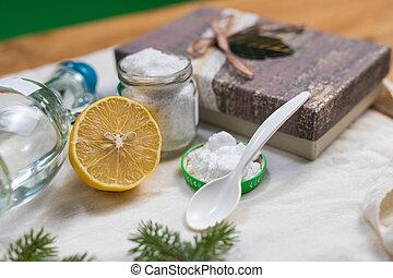 non-toxic, assando, products., limpeza, jarro, soda, lemon.