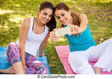 nosso, selfie, classe ioga