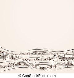nota, abstratos, aleatório, música, fundo