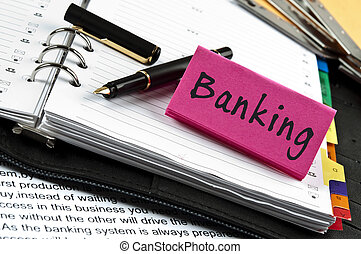 nota, operação bancária, caneta, agenda