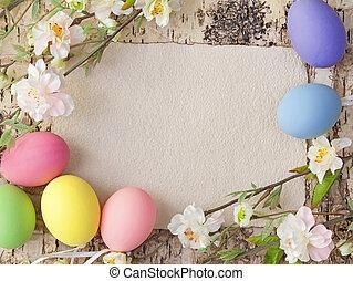 nota, ovos, páscoa, em branco
