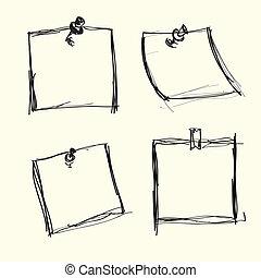 nota, pushpins, papeis, desenhado, mão