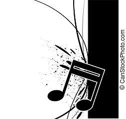 nota, splatter, música, tinta