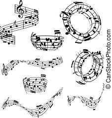 notas música, abstratos