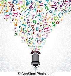 notas música, desenho, microfone