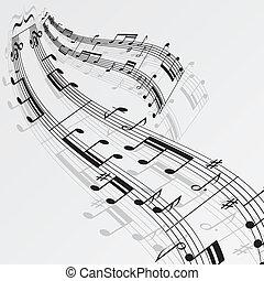 notas, música, fundo, onda