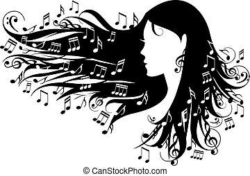 notas, mulher, música