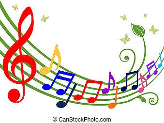 notas, musical, coloridos