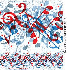 notas, pattern., seamless, musical