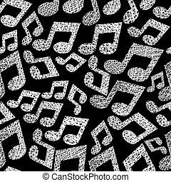 notas, seamless, padrão, tema, vetorial, música, bac, repetindo, musical