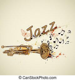 notas, trompete, fundo