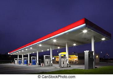 noturna, estação gás
