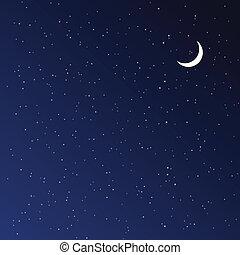 noturna, illustration., vetorial, sky.