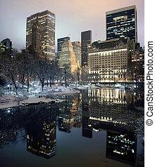 noturna, novo, cidade, york