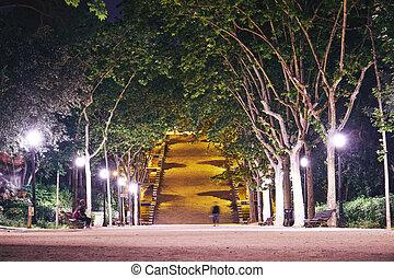 noturna, parque, barcelona