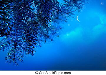 noturna, ramo, árvore, céu azul, arte, fundo, natal