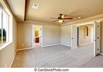 novo, carpet., sala, vazio, bege
