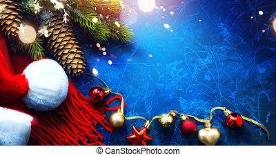novo, cartão cumprimento, fundo, natal, arte, feliz, ano, feliz