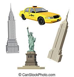novo, cidade, símbolos, york