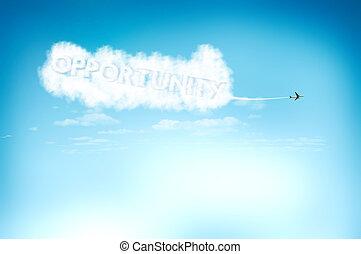 novo, conceito, céu, oportunidade, avião