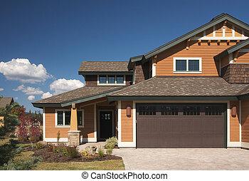 novo, construção, coloridos, lar