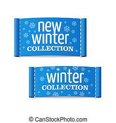 novo, etiquetas, inverno, cobrança