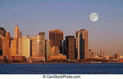 novo, skyline, york, th, cidade