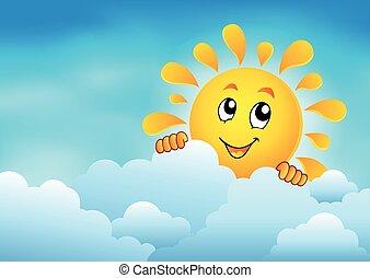 nublado, 1, céu, sol, espreitando