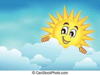 nublado, 3, céu, sol, espreitando