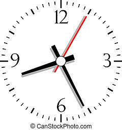 numerado, vetorial, relógio, ilustração