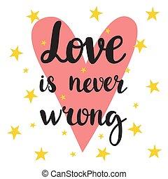 nunca, amor, cartaz, motivational, quote., wrong., mão, inspirational, desenhado, lettering.