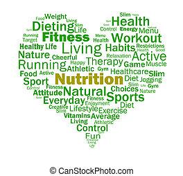 nutrição, coração, saudável, nutrientes, nutritivo, alimento, mostra