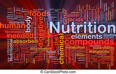 nutrição, glowing, conceito, saúde, fundo