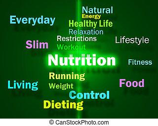 nutrição, vitaminas, saudável, nutrientes, mostrando, nutritivo, alimento, palavras