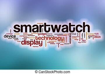 nuvem, abstratos, palavra, fundo, smartwatch