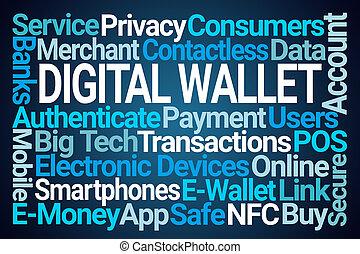 nuvem, carteira, digital, palavra